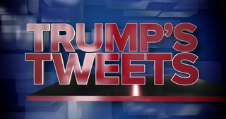 A red and blue dynamic 3D Trump's Tweets news title page animation.