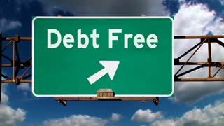 A road sign pointing to the direction of being debt free.