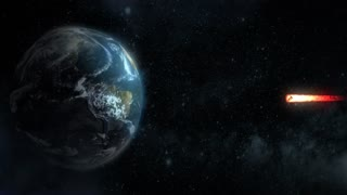 A stylized animated background of a meteor heading for a dramatic collision with the Earth's equator.