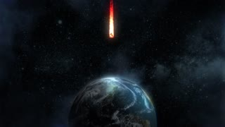 A stylized animated background of a meteor heading for a dramatic collision with the Earth's north pole.