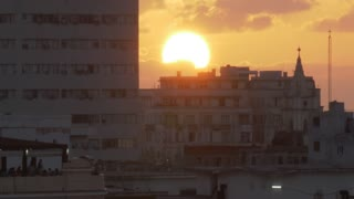 A time lapse view of the sun setting over Havana, Cuba.