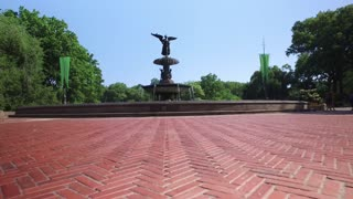 A tracking dolly up shot of Bethesda Fountain in Central Park.