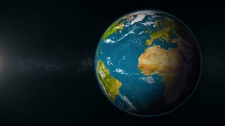 A view of Mother Earth rotating in deep space. Looping. Off set right with sunlight on left of screen.