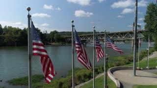 An aerial establishing shot of American Flags at Flag Park in Beaver County, Pennsylvania.