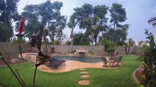 An establishing shot of a summer storm hitting a typical Arizona residential backyard in a suburb neighborhood of Phoenix. Shot at 60fps.