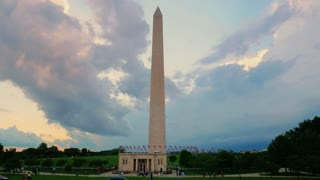 An evening time lapse view of the Washington Monument as a summer storm approaches. Shot in 5K.