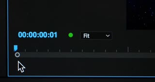 An extreme slow tracking dolly shot of a playback cursor on a video editor interface.