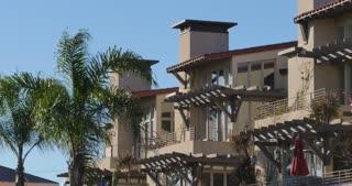 CORONADO ISLAND - Circa February, 2017 - A daytime establishing shot of typical apartment buildings on Coronado Island outside of San Diego.