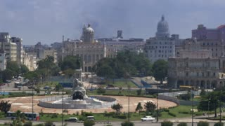 High angle aerial establishing shot of Maximo Gomez Monument Monumento a Máximo Gómez in Havana, Cuba. The Capitol dome is in the distance.