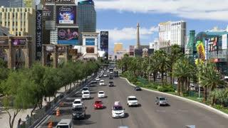LAS VEGAS - Circa April, 2017 - A high angle day establishing shot of traffic passing on the famous Las Vegas Strip.