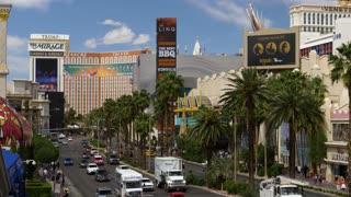 LAS VEGAS - Circa April, 2017 - A high angle daytime establishing shot of the famous Las Vegas Strip.