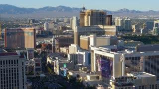 LAS VEGAS - Circa April, 2017 - A high angle daytime long establishing shot of traffic passing on the famous Las Vegas Strip.