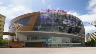 LAS VEGAS - Circa April, 2017 - A wide daytime establishing shot of T-Mobile Arena, home to the Las Vegas Golden Knights.