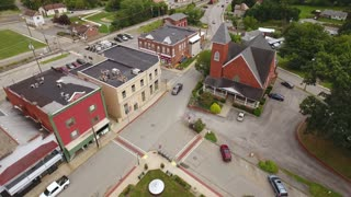 MARS, PENNSYLVANIA - Circa August, 2017 - An aerial view of the main street business district in the small town of Mars in western Pennsylvania.