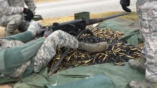 Military personnel shoot ammunition at range. With audio.