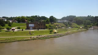 MONACA, PA - Circa July, 2017 - A daytime aerial establishing shot of the Ohio River shoreline in Monaca, PA, a town about 20 miles north of Pittsburgh.