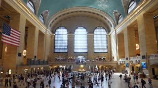 NEW YORK - Circa June, 2017 - An extreme slow motion view of the hustle and bustle inside busy Grand Central Station. Shot at 180fps.