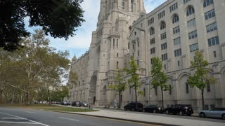 NEW YORK CITY - Circa October, 2017 - A daytime street level establishing shot of The Riverside Church in upper Manhattan.