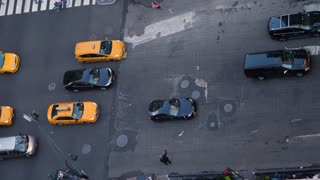 NEW YORK CITY - Circa October, 2017 - A high angle aerial view of traffic on 5th Avenue in midtown Manhattan.