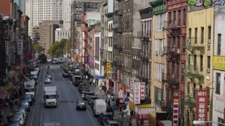 NEW YORK CITY - Circa October, 2017 - A high angle morning establishing shot (DX) of businesses in Manhattan's Chinatown.