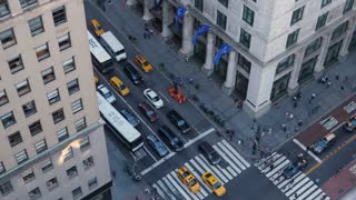 NEW YORK CITY - Circa October, 2017 - A high angle view of pedestrians and traffic on 5th Avenue in midtown Manhattan.