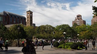 NEW YORK CITY - Circa October, 2017 - A sunny daytime exterior establishing shot (DX) of Washington Square Park in Manhattan.