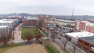 PITTSBURGH - Circa December, 2017 - A winter overcast reverse rising aerial establishing shot of the Bakery Square neighborhood in Pittsburgh's East End, home to Google offices.