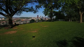 PITTSBURGH - Circa May, 2017 - A dramatic dolly forward view of the Pittsburgh, PA skyline as seen from the West End Overlook.