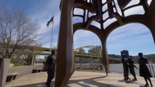 PITTSBURGH, PA - Circa April, 2017 - A daytime establishing shot of the Vietnam Veterans Monument on Pittsburgh's North Shore.
