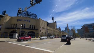 PITTSBURGH, PA - Circa April, 2017 - A daytime wide establishing shot of PNC Park, home of the Pittsburgh Pirates.