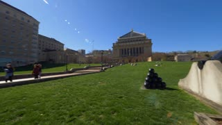 PITTSBURGH, PA - Circa April, 2017 - A fast panning wide establishing shot of Soldiers & Sailors Memorial Hall & Museum in the Oakland district of Pittsburgh.