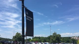 PITTSBURGH, PA - Circa June, 2017 - A banner on a lightpost designates the Uber ride sharing app and taxi dropoff and pickup location.