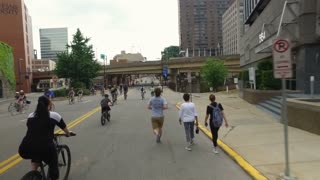 PITTSBURGH, PA - Circa May, 2017 - Bikers, walkers, pedestrians, and exercise enthusiasts participate in Open Streets Pittsburgh on Memorial Day Weekend, 2017.