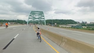 PITTSBURGH, PA - Circa May, 2017 - Bikers, walkers, pedestrians, and exercise enthusiasts participate in Open Streets Pittsburgh on the Birmingham Bridge on Memorial Day Weekend, 2017. Part 1 of 3.