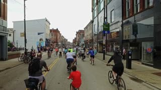 PITTSBURGH, PA - Circa May, 2017 - Bikers, walkers, pedestrians, and exercise enthusiasts participate in Open Streets Pittsburgh on the South Side on Memorial Day Weekend, 2017.