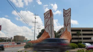 SAN ANTONIO, TX - Circa September, 2016 - A time lapse view of the World's Largest Cowboy Boots at North Star Mall in San Antonio, Texas.