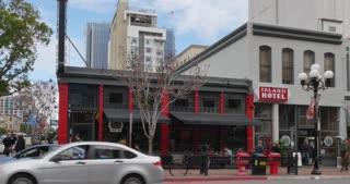 SAN DIEGO, CA - Circa February, 2017 - A day establishing shot of a corner bar and restaurant in San Diego's Gaslamp Quarter.