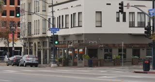 SAN DIEGO, CA - Circa February, 2017 - A daytime establishing shot of a corner bar and restaurant in San Diego's Gaslamp Quarter.