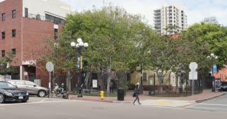 SAN DIEGO, CA - Circa February, 2017 - A daytime establishing shot of a small park in San Diego's Gaslamp Quarter.