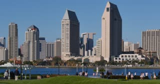 SAN DIEGO, CA - Circa February, 2017 - A daytime establishing shot of the San Diego skyline as seen from Centennial Park on Coronado Island.