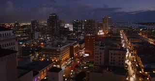 SAN DIEGO, CA - Circa February, 2017 - A high angle view of the San Diego skyline at nighttime.
