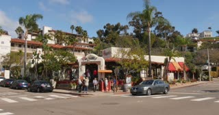 SAN DIEGO, CA - Circa February, 2017 - A typical daytime establishing shot of a Mexican restaurant in Old Town, San Diego.