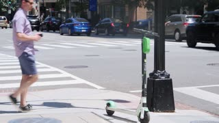 Lyon, France - January 4, 2019: Four Lime-S Electric Rental Scooter Parked  On Place Bellecour In Lyon, France, Europe - 4K Resolution Stock Video