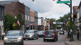 SEWICKLEY, PA - Circa September, 2017 - A daytime establishing shot of the business district in the upscale small town of Sewickley, about 15 miles north of Pittsburgh.