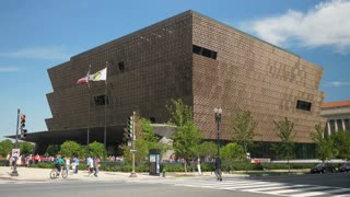 WASHINGTON, D.C. - Circa August, 2017 - A daytime exterior establishing shot of the National Museum of African American History and Culture.