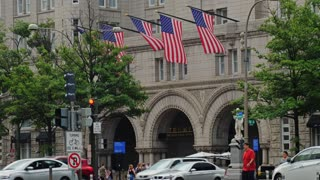 WASHINGTON, D.C. - Circa August, 2017 - A daytime summer exterior establishing shot of the front of Trump International Hotel on Pennsylvania Avenue in Washington DC.
