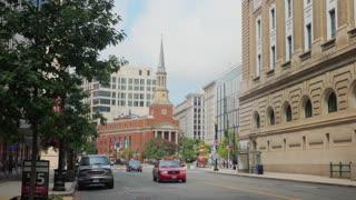 WASHINGTON, D.C. - Circa August, 2017 - A daytime summer exterior establishing shot of the New York Avenue Presbyterian Church in downtown Washington, DC.