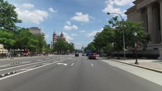 WASHINGTON, D.C. - Circa August, 2017 - A forward driving perspective on Pennsylvania Avenue with the Capitol Building in the distance. Part 1 of 2.