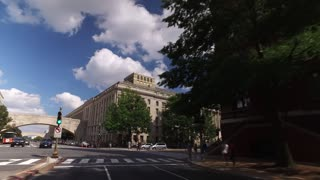 WASHINGTON, D.C. - Circa August, 2017 - A forward perspective driving on Independence Avenue past various government buildings on a summer day. Part 1 of 2.