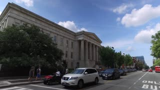 WASHINGTON, D.C. - Circa August, 2017 - A perspective driving on 7th Street past the Smithsonian American Art Museum in downtown DC.